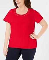 fb81d58b863 Karen Scott Plus Size Studded Scoop-Neck Top