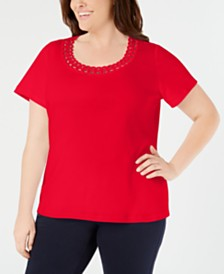 5f8c78212be Karen Scott Plus Size Studded Scoop-Neck Top