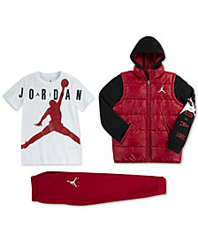 Jordan Little Boys Layered-Look Puffer Jacket, Graphic-Print T-Shirt & Jogger Pants