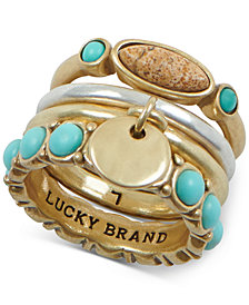 Lucky Brand Two-Tone Stone Stack Ring
