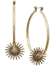 Lucky Brand Gold-Tone Spur Hoop Earrings