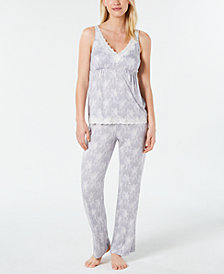 Charter Club Lace-Trimmed Printed Knit Pajama Set, Created for Macy's