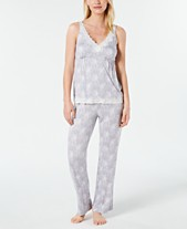 17231d8abc Charter Club Lace-Trimmed Soft Printed Knit Pajama Set