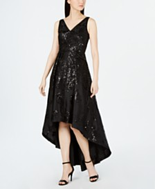 Calvin Klein Allover-Sequin High-Low Gown