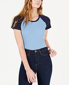 Hippie Rose Juniors' Colorblocked Rib-Knit Baseball T-Shirt