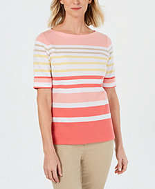 Karen Scott Boat-Neck Striped Top, Created for Macy's
