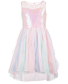Us Angels Big Girls Sequin Cascading Ruffle Dress
