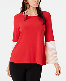 Alfani Petite Knit Colorblock Pleat Sleeve Top, Created for Macy's