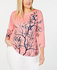Charter Club Plus Size Printed Cotton 3/4-Sleeve Top, Created for Macy's