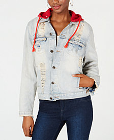 Waisted Ripped Hooded Cotton Jean Jacket