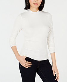 Bar III Ribbed Mock-Neck Top, Created for Macy's