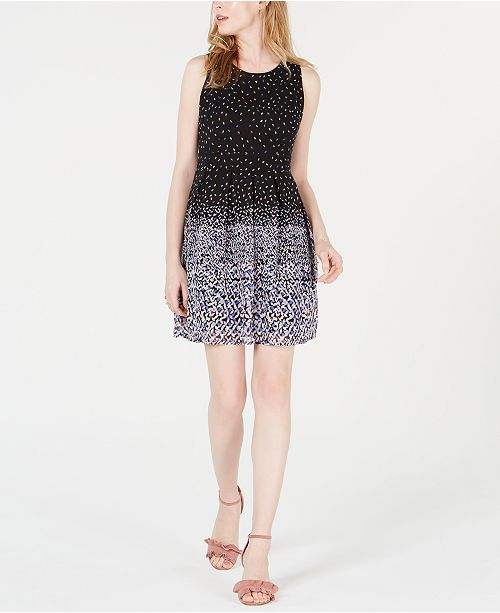 Maison Jules Pleated Fit & Flare Dress, Created for Macy's