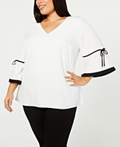 0fe6c7de2f444b Calvin Klein Plus Size V-Neck Tie-Sleeve Top