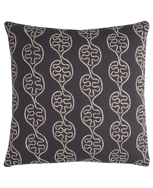 "Rizzy Home 20"" x 20"" Leaves in a Line Pillow Down Filled"