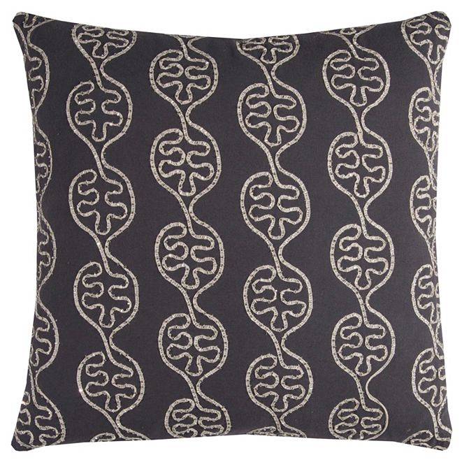 """Rizzy Home 20"""" x 20"""" Leaves in a Line Pillow Down Filled"""