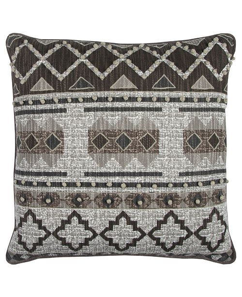 "Rizzy Home Textured 20"" x 20"" Geometric Design Pillow Down Filled"
