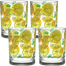 Lemon Slices 14oz Double Old Fashioned Glass, Set of 4