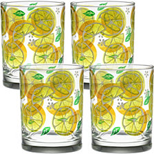 Culver Lemon Slices 14oz Double Old Fashioned Glass, Set of 4