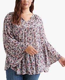 Lucky Brand Plus Size Printed Tiered Peasant Top