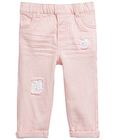 First Impressions Baby Girls Eyelet-Trim Distressed Jeans, Created for Macy's