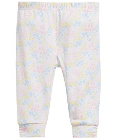 First Impressions Baby Girls Floral-Print Cotton Jogger Pants, Created for Macy's