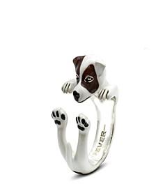 Jack Russel Terrier Hug Ring in Sterling Silver and Enamel