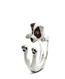 Jack Russel Terrier Hug Ring in Sterling Silver and Enamel