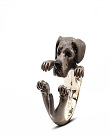 Great Dane Hug Ring in Sterling Silver and Enamel