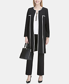 Calvin Klein Piped Topper Jacket, Cap-Sleeve Top & Trousers