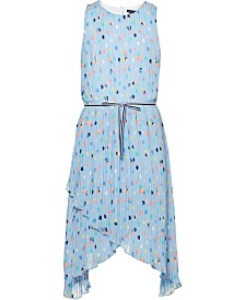 Tommy Hilfiger Big Girls Pleated Dot-Print Dress