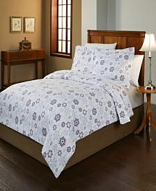 Pointehaven Snowdrop Print Luxury Size Cotton Flannel Duvet Set Twin Twin XL
