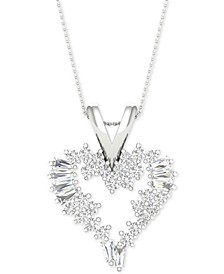 "Diamond Heart Pendant Necklace (1/2 ct. t.w.) in 14k White Gold, 16"" + 2"" extender"