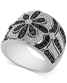 Diamond Floral Pattern Ring (1 ct. t.w.) in Sterling Silver
