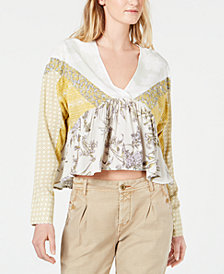 Free People Patchwork-Print Pleated Top