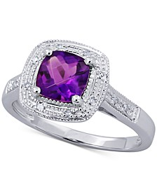 Amethyst (3/4 ct. t.w.) & Diamond Accent Ring in 14k White Gold (Also Available In Garnet, Mystic Topaz & Blue Topaz)