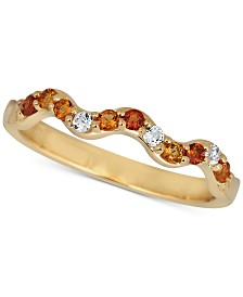 Multi-Gemstone Wavy Band (1/5 ct. t.w.) in 14k Gold-Plated Sterling Silver