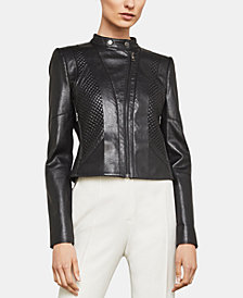 BCBGMAXAZRIA Quilted Faux-Leather Moto Jacket
