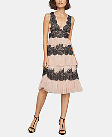 BCBGMAXAZRIA Embroidered Lace Tiered A-Line Dress