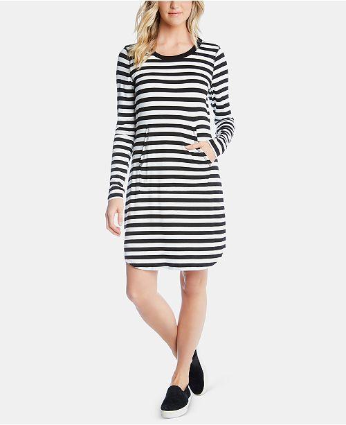 bbb93d7b8f1 Karen Kane Striped Long-Sleeve T-Shirt Dress & Reviews - Dresses ...