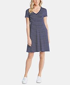 Karen Kane V-Neck Striped Pocket Dress
