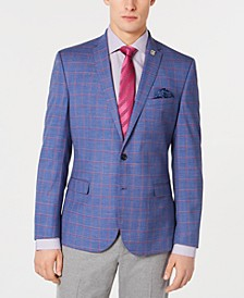 Men's Stretch Slim-Fit Windowpane Sport Coat