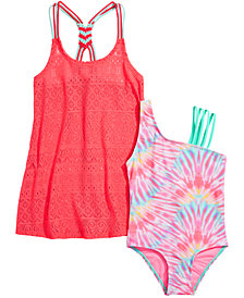 Summer Crush Big Girls Tie-Dyed Swimsuit & Macrame-Back Swim Cover-Up