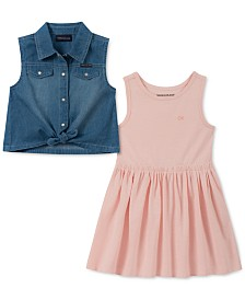 Calvin Klein Little Girls 2-Pc. Denim Shirt & Dress Set