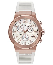 Ferragamo Women's Swiss Chronograph F-80  White Rubber Strap Watch 44mm