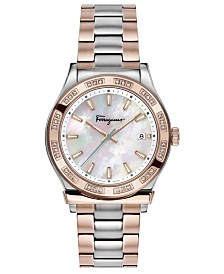 Ferragamo Women's Swiss 1898 Diamond (1/4 ct. t.w.) Two-Tone Stainless Steel Bracelet Watch 40mm