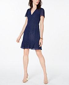 MICHAEL Michael Kors Flutter-Sleeve A-Line Dress