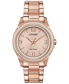 Citizen Drive from Citizen Eco-Drive Women's Pink Gold-Tone Stainless Steel Bracelet Watch 35mm