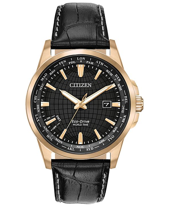 Citizen Eco-Drive Men's World Time Black Leather Strap Watch 41mm
