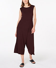 Eileen Fisher Stretch Jersey Cropped Faux-Wrap Jumpsuit, Regular & Petite