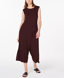 8b1c5cdc61b8 Eileen Fisher Stretch Jersey Cropped Faux-Wrap Jumpsuit